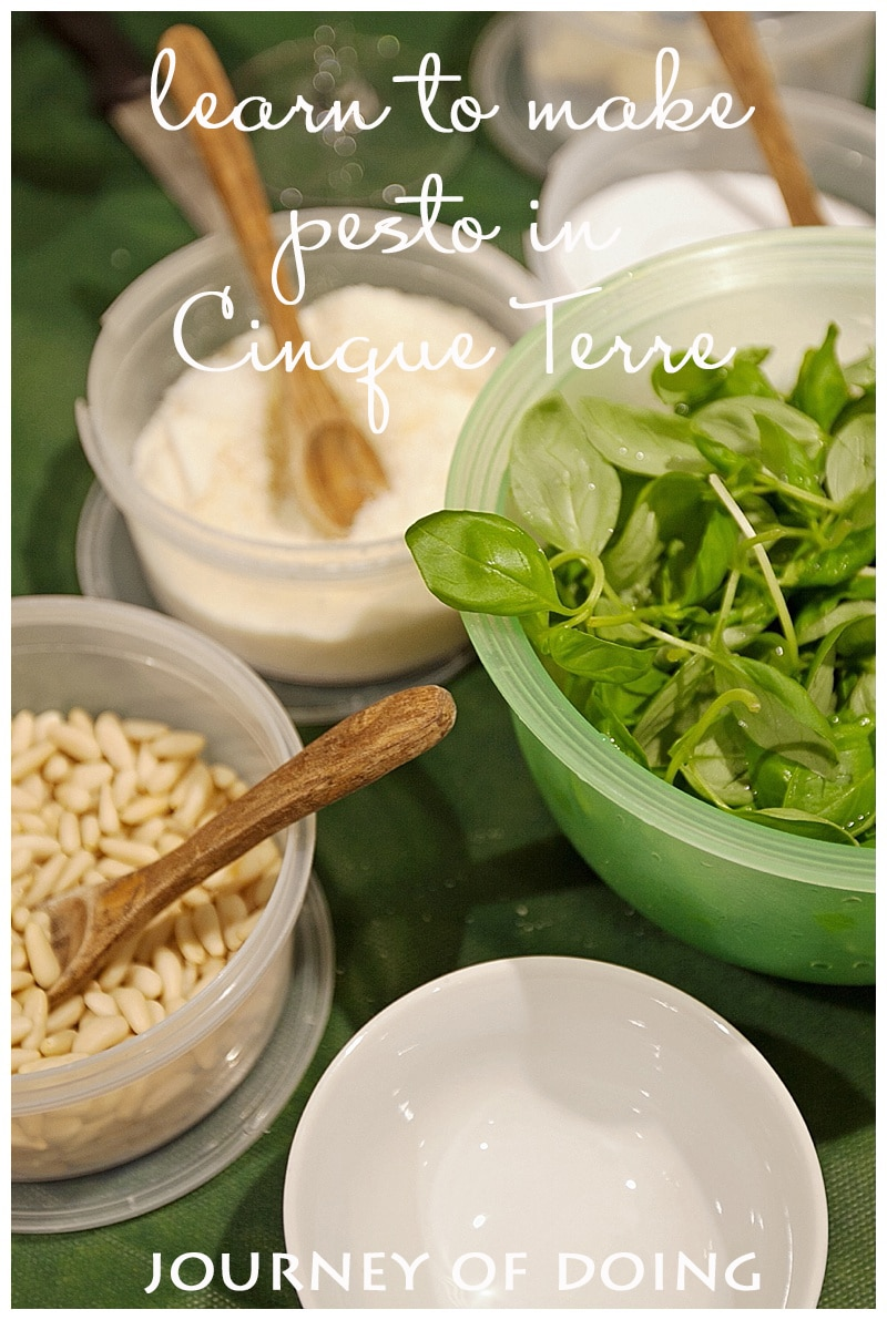 journey of doing - making pesto in cinque terre