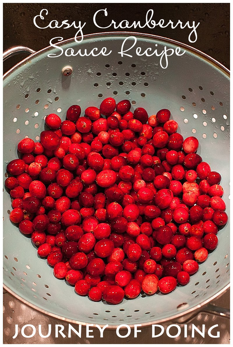 journey of doing - Super easy cranberry sauce recipe using only three ingredients.  Perfect for your Thanksgiving or Christmas meal.  BONUS: it can be made in advance!